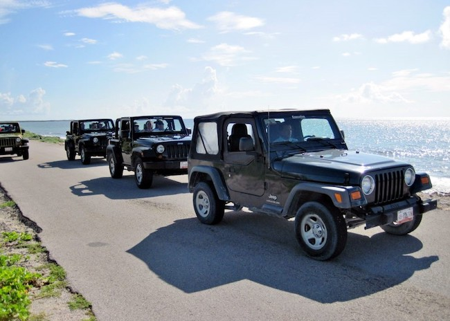 The jeeps starting the Cozumel adventure tour.