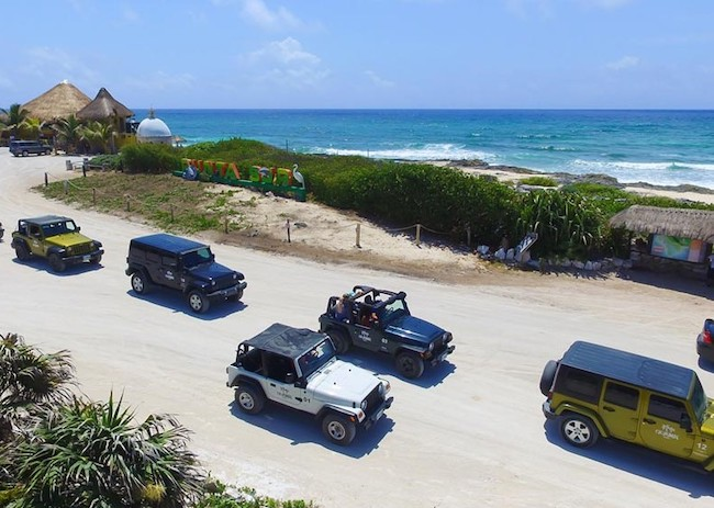 The Jeeps arriving on the coast of Cozumel.